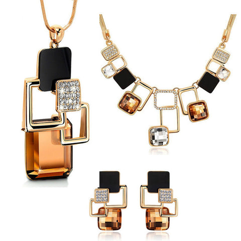 European and American fashion 3p Golden Hollow Geometric Big Stone Jewelry Sets Crystal Fine jewellery Set for women personality - onlinejewelleryshopaus