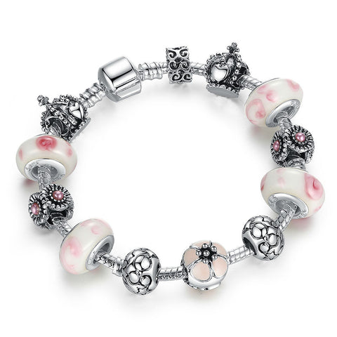 Authentic 925 Silver Charm Bracelet Pulseira with Pink Beads Snake Chain Compatible with Pan Bracelet Women Jewelry A1438 - onlinejewelleryshopaus