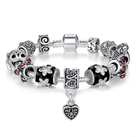 High Quality European Tibetan Silver Beads Bracelets & Bangles with Heart Charm for Women DIY Jewelry A1034 - onlinejewelleryshopaus