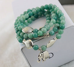 Good Luck Top Quality Factory wholesale New Natural Stone Jade Bracelet green elephant four circle hand with kissing fish - onlinejewelleryshopaus