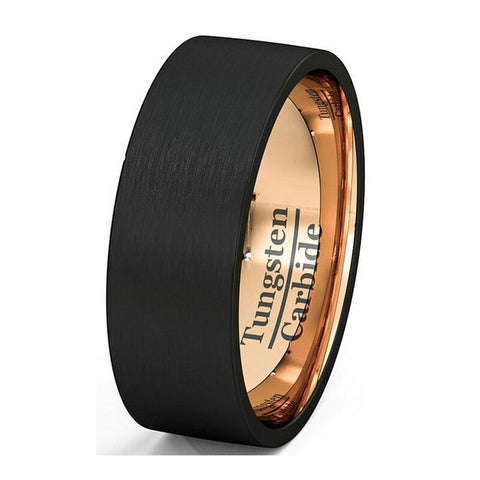 Black Male Ring Rose Gold Plated Wedding Band Tungsten Carbide Ring 8mm Man Women Anniversary Jewelry Size 7 8 9 10 11 12 13 - onlinejewelleryshopaus