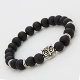 Fashion Antique Silver and Gold Plated Animal Owl Head Bracelet Men Beaded black Matte Stone Bracelets Pluseras Women - onlinejewelleryshopaus