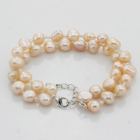 Free Shipping!!!AAA Grade 100% Real natural Freshwater Pearl Bracelet rice shape beads cultured real pearl bracelet for womens - onlinejewelleryshopaus
