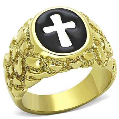 Mansaku IP Gold Plating Stainless Steel 316 Holy Cross Ring High Polished Men's fashion rings Environmental Safety Material - onlinejewelleryshopaus