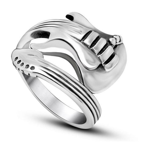 2016 New Fashion Jewelry Stainless Steel Mens Ring Titanium Steel Engraved Guitar Punk Rock Classic Silver Rings for Men - onlinejewelleryshopaus