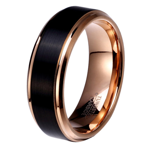 8mm/6mm/4mm Black & Rose Gold Plate Tungsten Carbide Wedding Band for Boy and Girl Friendship Ring Russian Men Simple Jewelry - onlinejewelleryshopaus