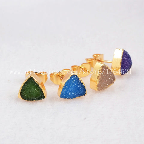 Free Shipping 8mm Gold Plated Triangle Rainbow Natural Agate Druzy Geode StudEarrings Fashion Jewelry Drusy Druzy Earrings 202 - onlinejewelleryshopaus