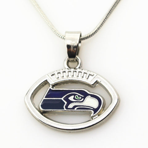 10pcs/lot Seattle Seahawks NFL team football sports necklace pendant Jewelry with snake chain(45+5cm) necklace jewelry - onlinejewelleryshopaus