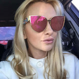Newest Oversized Sunglasses Women Brand Designer Cat eye Sun glasses Classic Retro Style Female Alloy Big Frame Mirror Sunglass - onlinejewelleryshopaus