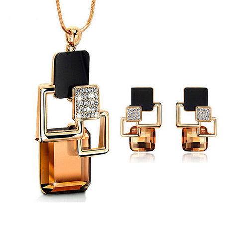 European and American fashion personality Golden Hollow Geometric Big Crystal Stone Jewelry Sets for women Party Accessories - onlinejewelleryshopaus