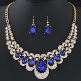 Jewelry Sets For Women Fine African Beads Gold Plated Bridal Crystal Pendants Necklace Earrings Set Wedding Jewelry Collier - onlinejewelleryshopaus