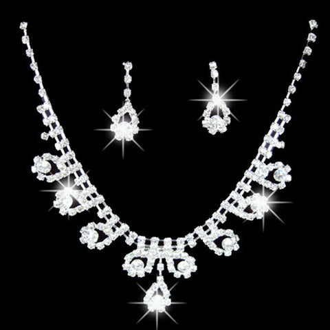 2015 hot sell Women's Bridal Romantic Rhinestone Wedding Party Pendant Necklace Earrings Bling Jewelry Set  1S35 56B9 - onlinejewelleryshopaus