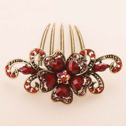 Retro Hair Jewelry Antique Bronze Plating Filigreed Flower Hair Combs Hair Clips Hairpins Headdress Exquisite Hair Jewelry - onlinejewelleryshopaus
