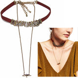 2016 Simplicity ZA Necklace Women Boho Metal Peace Doves Charm Long Chunky Chain Statement Leather Choker Necklace Jewelry NK830 - onlinejewelleryshopaus