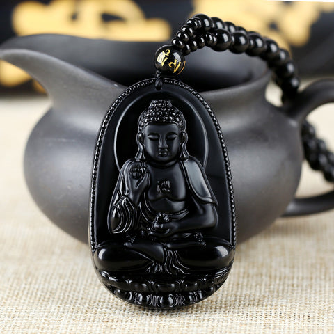 1pcs Natural Black Obsidian Carved Buddha Lucky Amulet Pendant Necklace Buddha Statue Halloween For Women Men pendants 61mm*39mm - onlinejewelleryshopaus