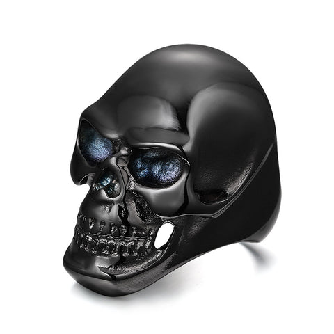Meaeguet 2016 Black Punk Skeleton Rings Coming Gothic Men's Biker Titanium Steel Ring Fashion Skull Cool Man Finger Rings - onlinejewelleryshopaus