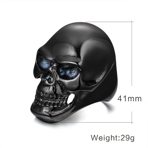 Meaeguet Cool Rock Black/Gold Plated Rings For Men Skull Design Stainless Steel Halloween Bike Rings Men Party Jewelry Gifts - onlinejewelleryshopaus