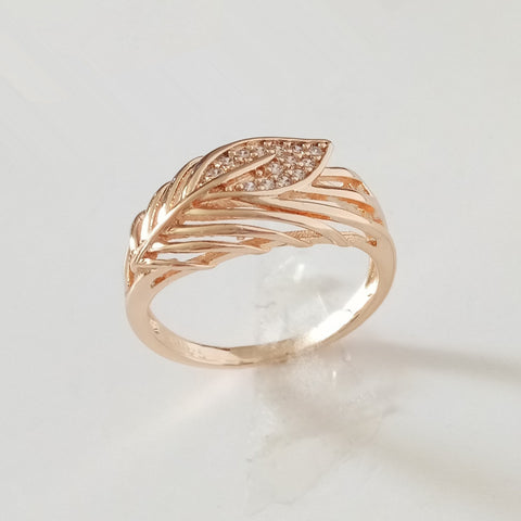 1 Piece New 585 Gold Women Rings Natural Stone Gold Jewelry Leaf Shape Wedding Lady Jewelry Trendy Vintage Gold 585 Women Ring - onlinejewelleryshopaus