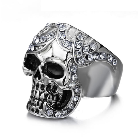 Meaeguet Vintage Simulated Diamond Skull Rings Europe Silver Color Stainless Steel Rings For Men Party Skeleton Ring - onlinejewelleryshopaus