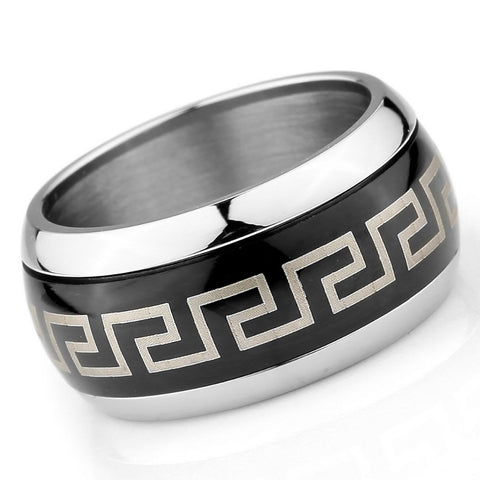Men's Jewelry Large Stainless Steel Ring Band Greek Vintage Polished Gold Silver Free Shipping - onlinejewelleryshopaus