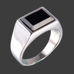 FIVETWOO     Stainless Steel Rectangle  Rings For Men In Black Onyx - onlinejewelleryshopaus