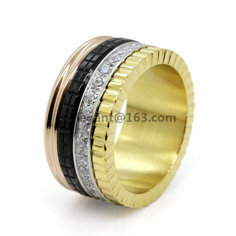 Free Shipping luxury brand steel men women rings finger steel big size wedding rose gold plated ring Rotation pave stone ceramic - onlinejewelleryshopaus