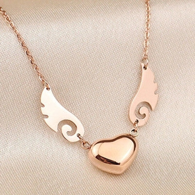 YUN RUO Angel Wings Pendant Necklace Titanium Steel & Rose Gold Plated Woman Fine Jewelry Birthday Gift Free Shipping Never Fade - onlinejewelleryshopaus