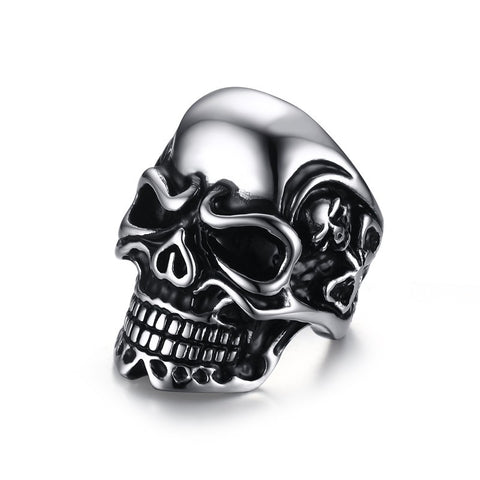 Meaeguet 34MM Men's Vintage Large Stainless Steel Rings Band Silver Black Skull Bone Gothic Tribal Biker Jewelry Size 7-12 - onlinejewelleryshopaus