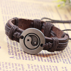 2016 Europe Punk Hand Made Braided Charm Bracelet Bangles Tai Chi Ying Yang Wristband Cuff Leather Bracelet For Men Adjustable - onlinejewelleryshopaus