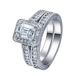 silver plated engagement Ring sets paved Cubic Zircon zirconia jewelry wedding Rings women - onlinejewelleryshopaus