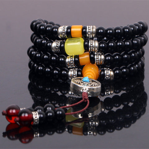 Ubeauty 6mm natural black agate stone108 beads japa rosary prayer bracelet Tibetan Buddha meditation mala necklace - onlinejewelleryshopaus