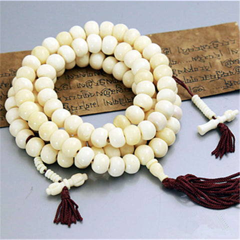BRO816 Tibetan Buddhist 108 Beads White Yak Bone Rosary 6-7mm Tibet Prayer Beads mala Bracelets for Girls - onlinejewelleryshopaus