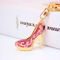 Crystal High Heels Shoes Key Chains Rings Holder Flower Enamel Bag Pendant For Car Gift Rhinestone Keyrings KeyChains K289 - onlinejewelleryshopaus