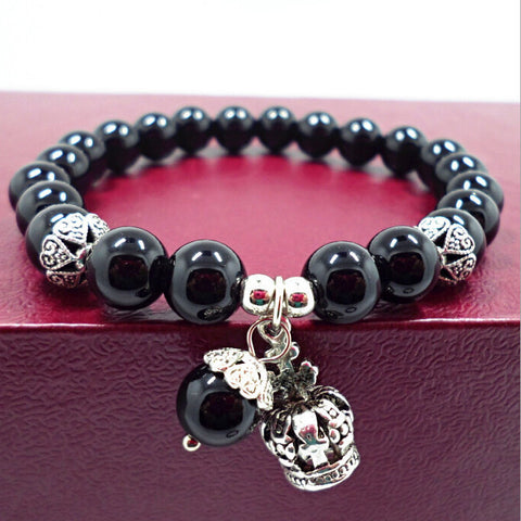 Natural black agate amethyst beads bracelets women bracelet jewelry with ancient silver crown water drop pendant 0220 - onlinejewelleryshopaus