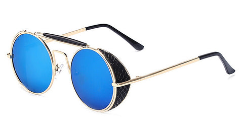 Peekaboo 2016 top quality vintage sunglasses men women brand gold metal flat top round steampunk sunglasses windproof oculos sol - onlinejewelleryshopaus
