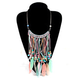 Spring Zinc Alloy Beads Long Tassel Feather Necklace Choker Fashion Party Bohemian Necklaces Women Jewelry Collar Colores - onlinejewelleryshopaus