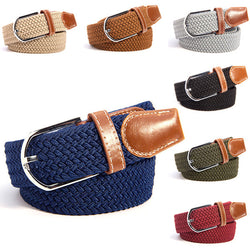 Unisex Canvas Woven Leather Pin Buckle Elastic Waist Belt Men Women Waistband New - onlinejewelleryshopaus