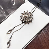 2016 New Arrival Women Pendant Necklaces The Crystal Necklace Female Temperament Flowers All-match Long Paragraph Sweater Chain - onlinejewelleryshopaus