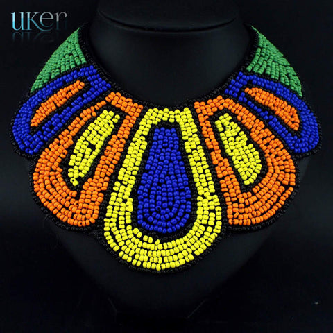 Danfosi Fashion Nations Style Hand Made Collars Necklace Resin Multicolor Beads Pendants Choker Women Bohemia Statement Jewelry - onlinejewelleryshopaus