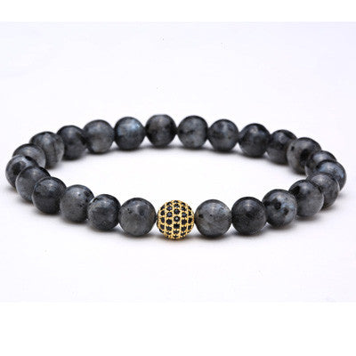 1PC Nature 8MM Grey Flash Stone Bracelet, Mens Beads Bracelet, Silver And Gold Round CZ Ball Bracelet, Stretch Rope Braclets - onlinejewelleryshopaus