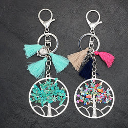 New Arrival Tassel Bohemia Key chain Owl Leaf Turquoise Tree of Life Pendant Key ring for Women and Men - onlinejewelleryshopaus