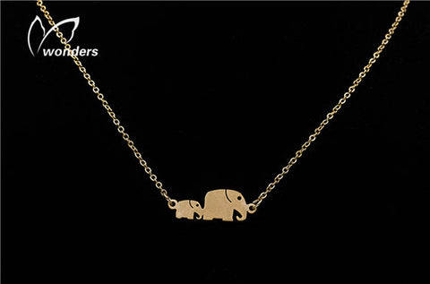 10pcs/lot  Christmas Gift  Gold Silver Fashion Jewelry Mother and Baby Elephant Pendant Necklaces Elephant Family Necklace N0054 - onlinejewelleryshopaus