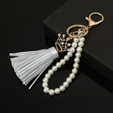 2016 Camellia Leather Tassels Keychain Bag Pendant Car Ornaments Creative Gifts Long Key Chain Buckle Key Ring 8 Colors - onlinejewelleryshopaus