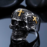 Steel soldier cross skull stainless ring punk men retro jewelry new style factory price skull ring for men - onlinejewelleryshopaus