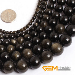 Gold Obsidian stone beads: 4mm to 14mm natural stone beads loose bead for jewelry making strand 15 inches ! - onlinejewelleryshopaus