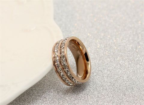 Silver/Rose Gold Titanium Steel Double Row CZ Rings for Women/Men Stainless Steel Crystal Zircon Ring Wedding Band Jewelry R063 - onlinejewelleryshopaus