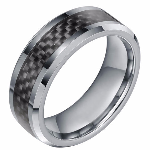8mm New Black Carbon Fiber Men's Ring Tungsten Carbide Engagement Ring Wedding Band Men Jewelry - onlinejewelleryshopaus