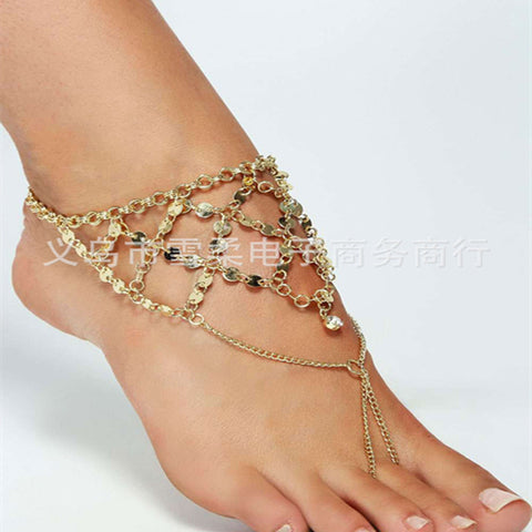 New Arrival Boho Womans Fringe sequins Sandals Anklet Ankle Bracelet Beach Foot Fashion Jewelry Chain - onlinejewelleryshopaus