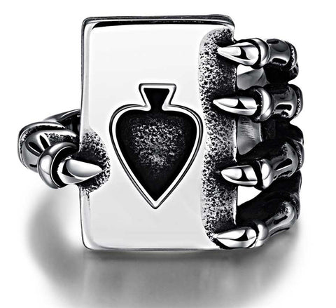 Free shipping! Claw Spades Poker Ring Stainless Steel Jewelry Cool Tribal Ace of Spades Biker Ring oth Men Ring Party Jewelry - onlinejewelleryshopaus