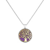 Silver Plated Jewelry with Tree of Life Pattern Necklace Pendant Aromatherapy Oil Essential Diffuser Necklace for Women Party - onlinejewelleryshopaus
